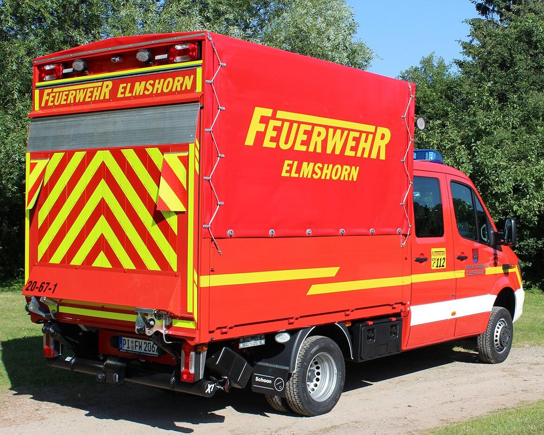 Feuerwehrfahrzeug, Gerätewagen (Gefahrgut) mit Schoon Pritsche, Ladebordwand, Blaulicht, Martinshorn (1)
