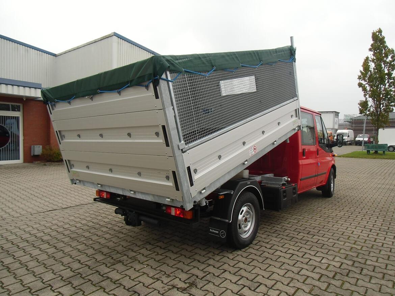 Ford Transit mit Schoon Kipper, 3 mal abklappbare Bordwänd, rechts Laubgitteraufsatz, Planen Dach (2)