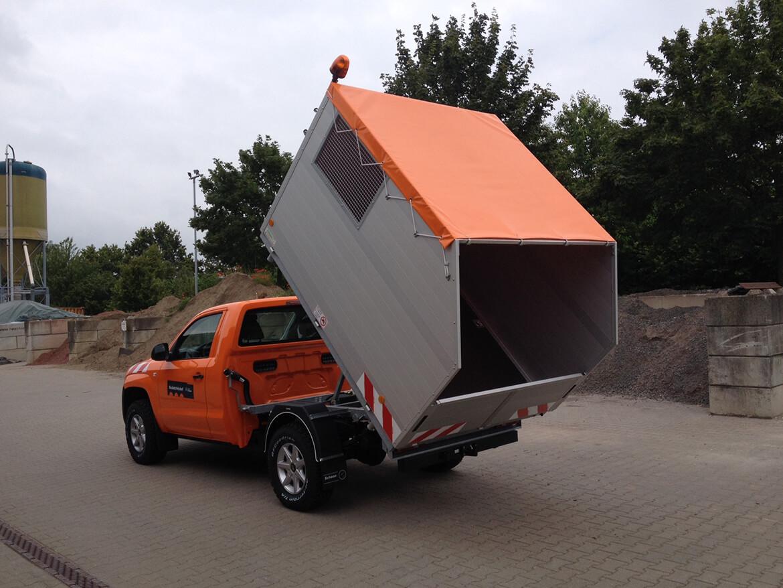 Kommunal Abfallsammler für Pickup, Schoon Kipper mit Bordwanderhöhung, Planen Dach, Rundumkennleuchte