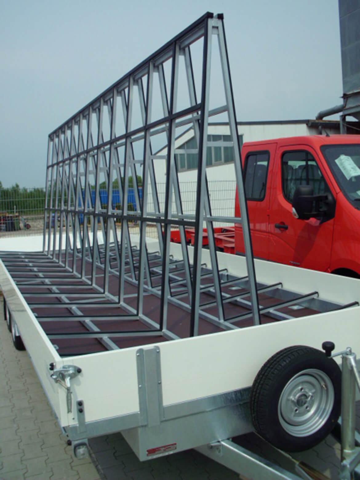 Langmaterialanhänger für Fenstertransport, Elementtransport, Glasreff, Glasbock, Ladungssicherung, Metallbau