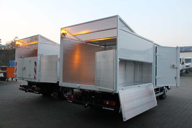 Schoon Heckkipper mit seitlichem Stauraum, doppelflügeligen Türen und Gitter Dach, Gerätekasten, Warnleuchten, Komplettlackierung (3)