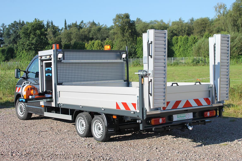 Schoon Universaltransporter Easy Clean mit Tiefrahmen Chassis, Idealer Begleiter für Garten und Landschaftsbau