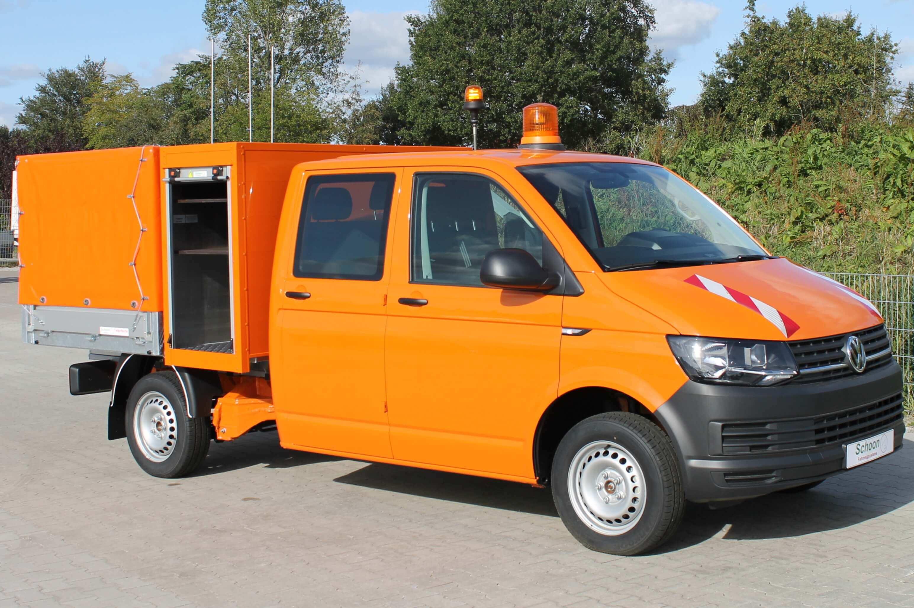 VW Transporter mit Schoon Mittelhochpritsche, Gerätekasten, Plane Spriegel, Ausstellklappe, RKL, Schwerlastauszug, AB1901913 (8)