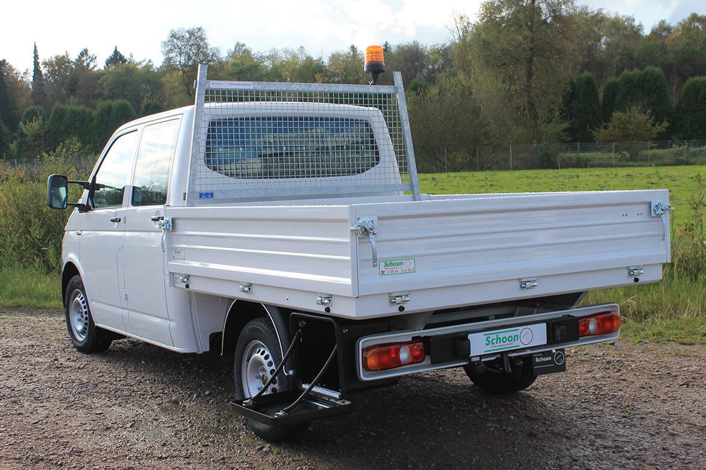 Volkswagen Nutzfahrzeuge Transporter mit Schoon Pritsche, Stahlbordwände, Stirnwandgitter, RKL, Werkzeugbox